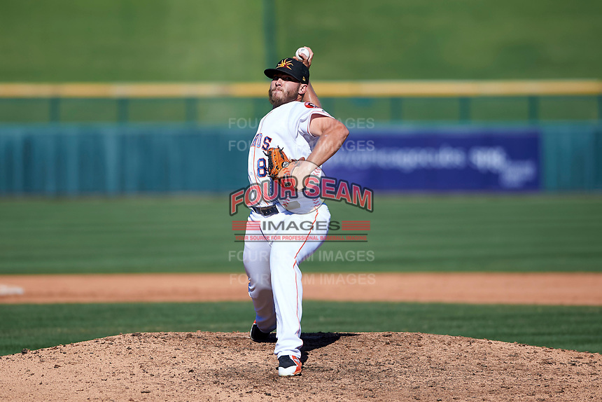 Mesa Solar Sox relief pitcher Riley Ferrell (88), of the Houston Astros organization, delivers a pitch to the plate during an Arizona Fall League game against the Glendale Desert Dogs on October 28, 2017 at Sloan Park in Mesa, Arizona. The Solar Sox defeated the Desert Dogs 9-6. (Zachary Lucy/Four Seam Images)