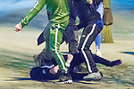 © Joel Goodman - 07973 332324 . 07/04/2017 . Manchester , UK . 9th in a sequence . Five youths on one as a fight breaks out in which a man's head is kicked and stamped upon , in Piccadilly Gardens . Greater Manchester Police have authorised dispersal powers and say they will ban people from the city centre for 48 hours , this evening (7th April 2017) , in order to tackle alcohol and spice abuse . Photo credit : Joel Goodman