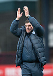 Dundee v St Johnstone…10.03.18…  Dens Park    SPFL<br />Tommy Wright applauds the travelling saints fans<br />Picture by Graeme Hart. <br />Copyright Perthshire Picture Agency<br />Tel: 01738 623350  Mobile: 07990 594431