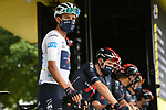 White Jersey Egan Bernal (COL) and Team Ineos Grenadiers at sign on before the start of Stage 9 of Tour de France 2020, running 153km from Pau to Laruns, France. 6th September 2020. <br /> Picture: ASO/Alex Broadway   Cyclefile<br /> All photos usage must carry mandatory copyright credit (© Cyclefile   ASO/Alex Broadway)