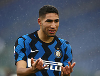 Football, Serie A: AS Roma -  FC Internazionale Milano, Olympic stadium, Rome, January 10, 2021. <br /> Inter's Achraf Hakimi celebrates after scoring during the Italian Serie A football match between Roma and Inter at Rome's Olympic stadium, on January 10, 2021.  <br /> UPDATE IMAGES PRESS/Isabella Bonotto
