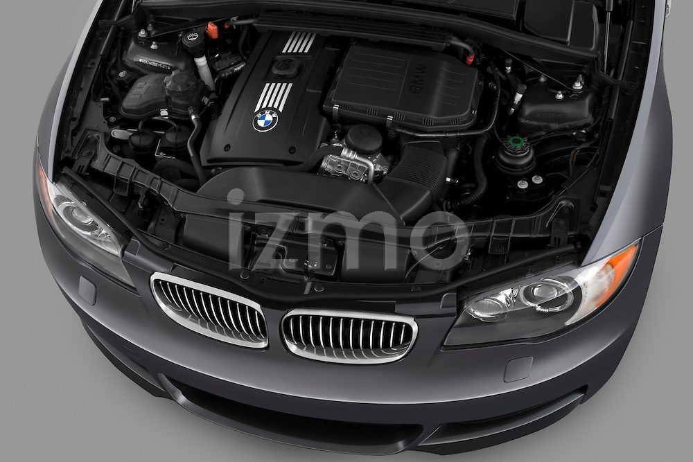 Engine detail from a high angle overhead view on a 2007 - 2011 BMW 1-Series 135i convertible.