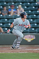 Jordan Procyshen (34) of the Salem Red Sox follows through on his swing against the Winston-Salem Dash at BB&T Ballpark on June 16, 2016 in Winston-Salem, North Carolina.  The Dash defeated the Red Sox 7-1.  (Brian Westerholt/Four Seam Images)