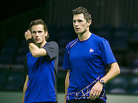 08-02-2014, Netherlands,Rotterdam,Ahoy, ABNAMROWTT,   Doubles Wesley Koolhof (L) and Stephan Fransen (NED)<br /> Photo:Tennisimages/Henk Koster