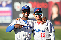 Danny Bautista (5) and Brayan Buelvas (15) of the Stockton Ports pose for a photo before a game against the Rancho Cucamonga Quakes at LoanMart Field on May 26, 2021 in Rancho Cucamonga, California. (Larry Goren/Four Seam Images)