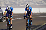 Alejandro Valverde and Antonio Pedrero (ESP) Movistar Team on the final climb of Stage 3 of the 2021 UAE Tour running 166km from Al Ain to Jebel Hafeet, Abu Dhabi, UAE. 23rd February 2021.  <br /> Picture: Eoin Clarke | Cyclefile<br /> <br /> All photos usage must carry mandatory copyright credit (© Cyclefile | Eoin Clarke)