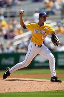 LSU Tigers starting pitcher Aaron Nola #10 delivers a pitch during the NCAA baseball game against the Mississippi State Bulldogs on March 18, 2012 at Alex Box Stadium in Baton Rouge, Louisiana. LSU defeated Mississippi State 4-2. (Andrew Woolley / Four Seam Images).
