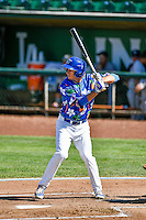 Mitchell Hansen (43) of the Ogden Raptors at bat against the Billings Mustangs in Pioneer League action at Lindquist Field on August 14, 2016 in Ogden, Utah. Ogden defeated Billings 15-9. (Stephen Smith/Four Seam Images)