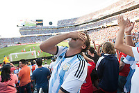 Santa Clara, CA - Monday June 6, 2016: An Argentina fan reacts to a missed shot. Argentina played Chile in the group D match of the Copa América Centenario game at Levi's Stadium.