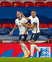 8th Occtober 2020, Wembley Stadium, London, England;  Englands Danny Ings celebrates with Conor Coady after scoring during a friendly match between England and Wales in London
