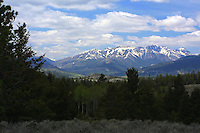 Hurricane Mesa as seen from the Chief Joesph Highway. Hurricane Mesa is a part of the North Absaroka Wilderness.  This big wilderness area protects much of the northern part of Wyoming's Absaroka Range, a high and intricately eroded landscape of ancient volcanic debris. The wilderness adjoins the northeastern boundary of Yellowstone National Park for many miles.