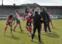 VC Wingene - FC Izegem : vreugde bij Izegem na het behalen van de kampioenstitel.foto VDB / BART VANDENBROUCKE
