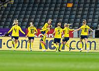 SOLNA, SWEDEN - APRIL 10: Lina Hurtig #8 of Sweden celebrates during a game between Sweden and USWNT at Friends Arena on April 10, 2021 in Solna, Sweden.