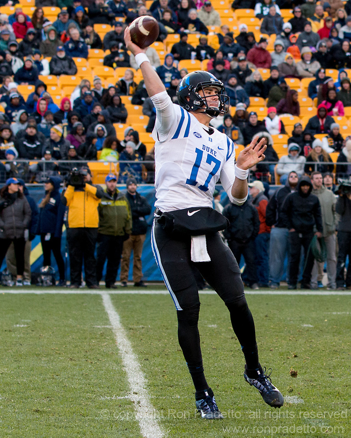 Duke quarterback Daniel Jones. The Pitt Panther defeated the Duke Blue Devils 56-14 at Heinz Field in Pittsburgh, Pennsylvania on November 19, 2016.