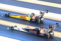 Oct 12, 2019; Concord, NC, USA; NHRA top fuel driver Billy Torrence (near) alongside Richie Crampton during qualifying for the Carolina Nationals at zMax Dragway. Mandatory Credit: Mark J. Rebilas-USA TODAY Sports