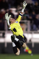 Clemson goalkeeper Phil Marfuggi, after tipping a shot over the net. The University of New Mexico defeated Clemson University 2-1 in the NCAA Semifinal at SAS Stadium in Cary, North Carolina, Friday, December 9, 2005.