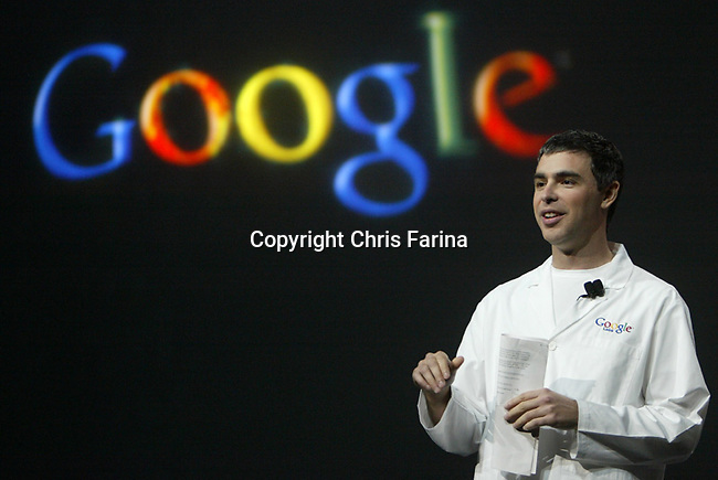 January 6,2006 , Las Vegas,Nevada ---.Google Co-Founder & President of Products Larry Page delivers his keynote address for the 2006 International Consumer Electronics Show (CES) at the Las Vegas Hilton. ---  Chris Farina