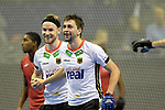 Berlin, Germany, February 09: During the FIH Indoor Hockey World Cup Pool A group match between Germany (white) and Trinidad and Tobago(red) on February 9, 2018 at Max-Schmeling-Halle in Berlin, Germany. Final score 10-2. (Photo by Dirk Markgraf / www.265-images.com) *** Local caption *** Christopher RUEHR #17 of Germany, Tobias HAUKE #13 of Germany