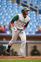 Fort Wayne TinCaps outfielder Franchy Cordero (22) watches a batted ball during a game against the Lake County Captains on May 20, 2015 at Classic Park in Eastlake, Ohio.  Lake County defeated Fort Wayne 4-3.  (Mike Janes/Four Seam Images)