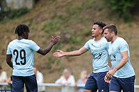 Pedro Lubamba (29) of Union congratulates Matthew Sorinola (7) of Union and Guillaume Francois (24) of Union for the goal during friendly soccer game between Tempo Overijse and Royale Union Saint-Gilloise, Saturday 29th of June 2021 in Overijse, Belgium. Photo: SPORTPIX.BE   SEVIL OKTEM