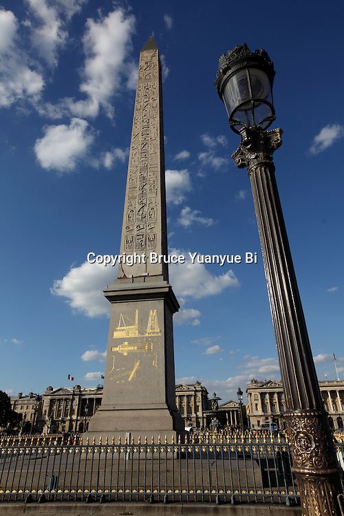 Street lamp with Obelisk in Concorde Square Place de la Concorde. Paris. France