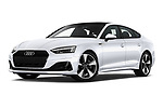 Stock pictures of low aggressive front three quarter view of 2021 Audi A5-Sportback Design 5 Door Hatchback Low Aggressive