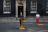 David Cameron (British Prime Minister) and his wife Samantha.<br /> <br /> London, 24/06/2016. The United Kingdom decided to leave the European Union. The British people voted (Turnout 72.2%): 51,9% to leave the EU (17,410,742 Votes) versus 48,1% to remain in the EU (16,141,241 Votes).<br /> <br /> For the full caption please find the 2-page PDF attached at the beginning of this story.<br /> <br /> For more information abou the result please clich here: http://www.bbc.co.uk/news/politics/eu_referendum/results