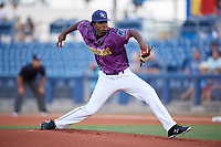 Charlotte Stone Crabs starting pitcher Willy Ortiz (38) delivers a pitch during a game against the Palm Beach Cardinals on April 21, 2018 at Charlotte Sports Park in Port Charlotte, Florida.  Charlotte defeated Palm Beach 5-2.  (Mike Janes/Four Seam Images)