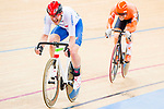 Simone Consonni of Italy and Roy Eefting of the Netherlands compete in the Men's Omnium Finals during the 2017 UCI Track Cycling World Championships on 15 April 2017, in Hong Kong Velodrome, Hong Kong, China. Photo by Marcio Rodrigo Machado / Power Sport Images