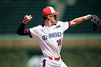 Tanner Witt (10) during the Under Armour All-America Game, powered by Baseball Factory, on July 22, 2019 at Wrigley Field in Chicago, Illinois.  Tanner Witt attends Episopal High School in Houston, Texas and is committed to the University of Texas.  (Mike Janes/Four Seam Images)