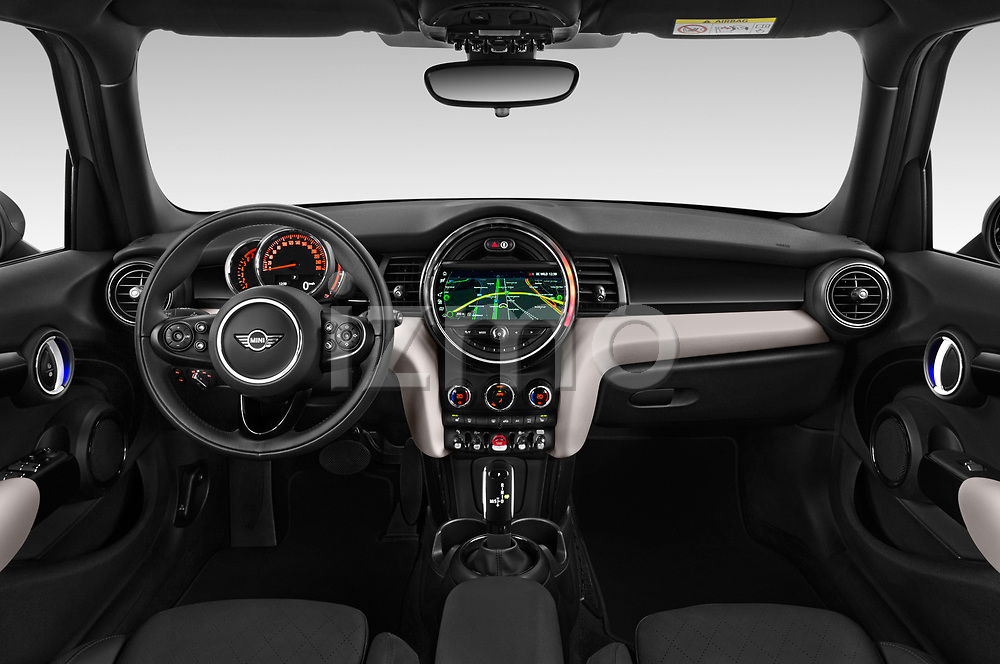 Stock photo of straight dashboard view of a 2018 Mini MINI Cooper S Chilli 5 Door Hatchback