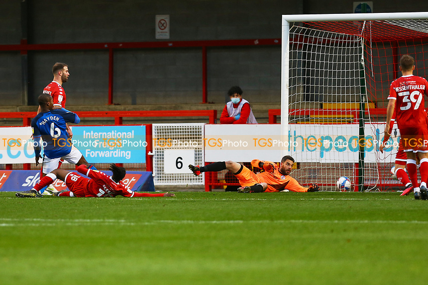 Aaron Hayden of Carlisle United scores the third goal for his team during Crawley Town vs Carlisle United, Sky Bet EFL League 2 Football at Broadfield Stadium on 21st November 2020