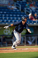 Mobile BayBears Erick Salcedo (13) at bat during a Southern League game against the Mobile BayBears on July 25, 2019 at Blue Wahoos Stadium in Pensacola, Florida.  Pensacola defeated Mobile 2-1 in the first game of a doubleheader.  (Mike Janes/Four Seam Images)