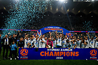 30th August 2020. Sydney, Australia;  Players and staff members of Sydney FC celebrate during the awards ceremony for the 2019/2020 season A-League in Sydney, Australia, Aug. 30, 2020. Sydney FC claimed a historic fifth A-League crown after beating Melbourne City 1-0 in the Grand Final of A-League