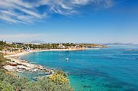 Agia Marina beach in Spetses island, Greece