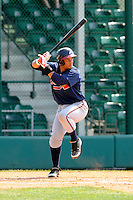 Infielder Carlos Castro (68) of the Atlanta Braves farm system in a Minor League Spring Training intrasquad game on Wednesday, March 18, 2015, at the ESPN Wide World of Sports Complex in Lake Buena Vista, Florida. (Tom Priddy/Four Seam Images)