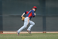 Cleveland Indians outfielder Clint Frazier (17) tracks a fly ball during an Instructional League game against the Kansas City Royals on October 9, 2013 at Surprise Stadium Training Complex in Surprise, Arizona.  (Mike Janes/Four Seam Images)