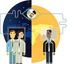 Businessmen communicating online
