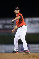 Kannapolis Intimidators relief pitcher Yelmison Peralta (28) in action against the Hagerstown Suns at Kannapolis Intimidators Stadium on May 4, 2016 in Kannapolis, North Carolina.  The Intimidators defeated the Suns 7-4.  (Brian Westerholt/Four Seam Images)