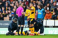 2nd October 2021;  Molineux Stadium, Wolverhampton,  West Midlands, England; EFL Cup football, Wolverhampton Wanderers versus Newcastle United; Wolverhampton Wanderers captain Conor Coady complains to Referee Graham Scott after a foul
