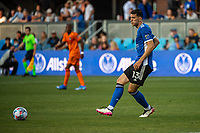 SAN JOSE, CA - JULY 24: Nathan #13 of the San Jose Earthquakes passes the ball during a game between San Jose Earthquakes and Houston Dynamo at PayPal Park on July 24, 2021 in San Jose, California.