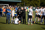 Viting manager Ian Culverhouse talking to his players before extra-time commences as Warrington Town played King's Lynn Town in the Northern Premier League premier division super play-off final tie at Cantilever Park, Warrington. The one-off match was between the winners of play-off matches in the Northern Premier League and the Southern League Premier Division Central to determine who would be promoted to the National League North. The visitors from Norfolk won 3-2 after extra-time, watched by a near-capacity crowd of 2,200.