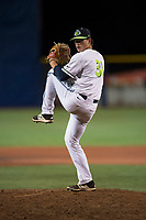 Hillsboro Hops relief pitcher Josh Green (31) delivers a pitch during a Northwest League game against the Salem-Keizer Volcanoes at Ron Tonkin Field on September 1, 2018 in Hillsboro, Oregon. The Salem-Keizer Volcanoes defeated the Hillsboro Hops by a score of 3-1. (Zachary Lucy/Four Seam Images)