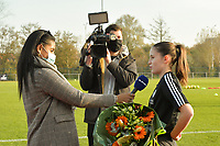 Marie Detruyer , winner of the Eleven Sports trophee player of the month pictured during an interview with Eleven before the female soccer game between SV Zulte - Waregem and Oud Heverlee Leuven on the sixth matchday of the 2020 - 2021 season of Belgian Scooore Women s SuperLeague , saturday 7 th of November 2020  in Zulte , Belgium . PHOTO SPORTPIX.BE   SPP   DIRK VUYLSTEKE
