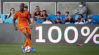 SAN JOSE, CA - JULY 24: Fafa Picault #10 of the Houston Dynamo dribbles the ball during a game between San Jose Earthquakes and Houston Dynamo at PayPal Park on July 24, 2021 in San Jose, California.