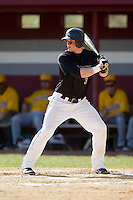 Rafe Shupe (3) of the County College of Morris Titans at bat against the SUNY Sullivan Generals on the campus of County College of Morris on April 9, 2013 in Randolph, New Jersey.  The Titans defeated the Generals 12-4.  (Brian Westerholt/Four Seam Images)