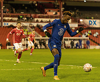 11th February 2021; Oakwell Stadium, Barnsley, Yorkshire, England; English FA Cup 5th round Football, Barnsley FC versus Chelsea; Tammy Abraham of Chelsea who scored the match winning goal performs defending duties in the final minutes