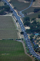 aerial photograph of heavy traffic on the Silverado Trail, Napa County, California