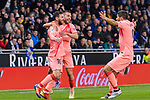 Lionel Messi of FC Barcelona (L) celebrates his goal with his teammates during the La Liga 2018-19 match between RDC Espanyol and FC Barcelona at Camp Nou on 08 December 2018 in Barcelona, Spain. Photo by Vicens Gimenez / Power Sport Images