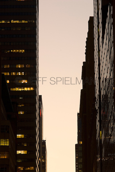Office Buildings in Midtown Manhattan at Dusk, New York City, New York State, USA